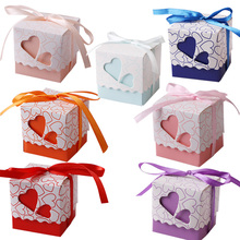 100Pcs/lot Love Heart  Small Gift Box Candy Boxes Wedding Party Favor Ribbon Candy Bag Casamento Decor Event  Party Supplies