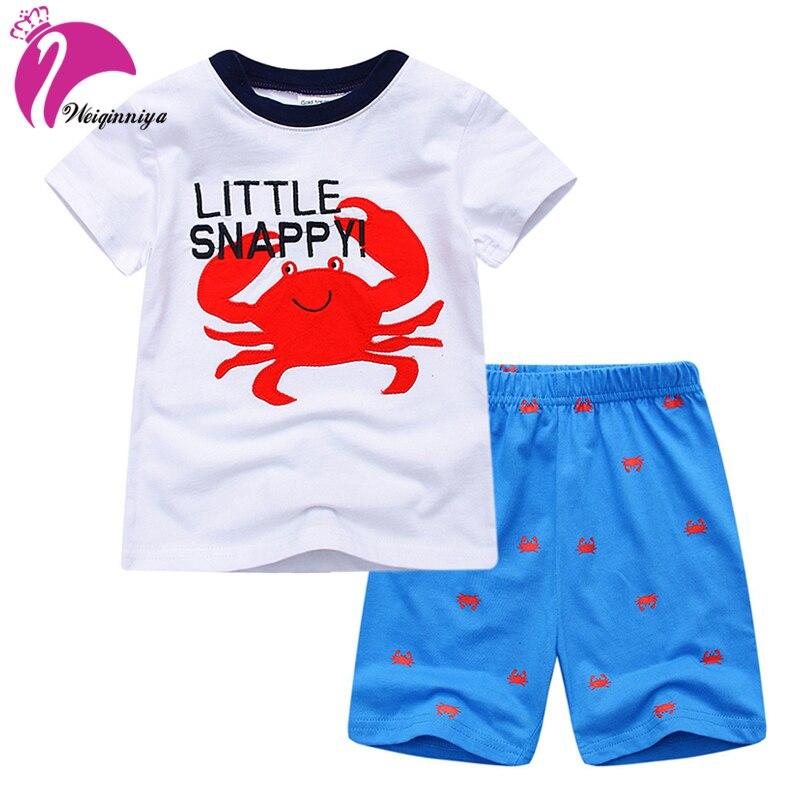 Tracksuit For Boys Casual Kids Sport Suits Cartoon Pattern Suits For Boys Tops+Pants 2PCs Set Summer Short Sleeve Cotton Kid Set<br>