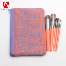 New Collection Bright Orange Plastic Handle Synthetic Fiber 5pcs Lipstick Jungle Brush Set With Portable Cosmetic Bag(China)