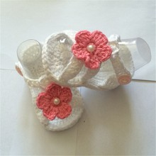 Grey Crochet Baby Ballerina Shoes in Cotton with Pink Crochet Flower, Spring and autumn Crochet Baby Shoes,Cute Baby Shower Gift(China)