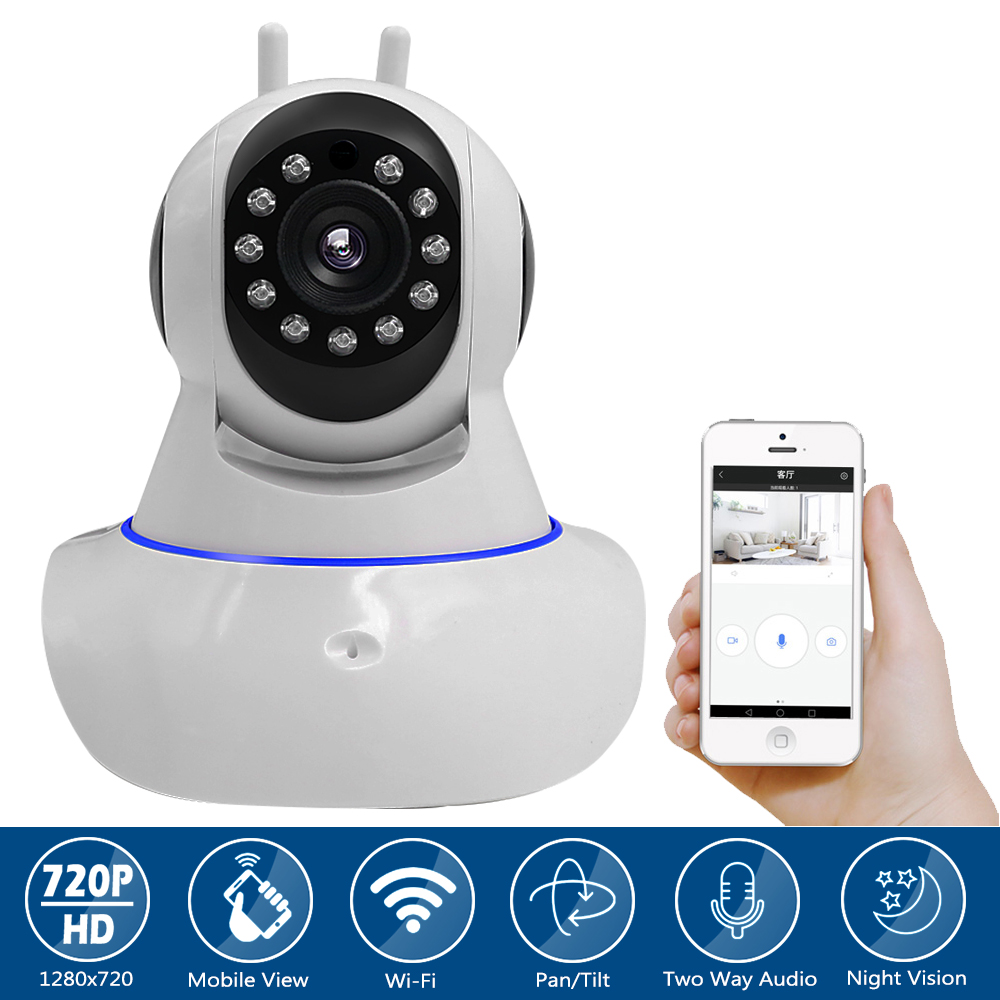 1MP HD 720P Home Indoor  Security Alarm System Wireless IP Camera Video CCTV Surveillance IR Night Vision for IOS / Android PTZ<br>