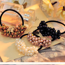AOMU Hand-Made String Simulated Pearl Bead Elastic Hair Bands Hair Rope Elastic Ponytail Holder for Headwear Hair Accessories