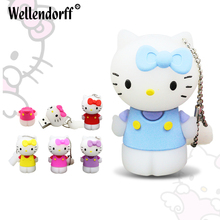 Lovely Kitty Cat USB FLASH DRIVE 64GB 32GB 16GB 8GB 4GB Memory stick USB2.0 PenDrive External Storage for gift(China)