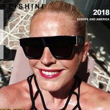 87bb00a11 FEISHINI Flat Top óculos de Sol Oversize Óculos Quadrados Óculos De Sol Das  Mulheres Dos Homens de Moda Famosa Marca Rebite Pret.