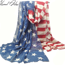 [Visual Axles] Oversized Oblong Style Vintage 100% Viscose American Flag Scarf Women USA Flag Shawls and Scarves SFJ001