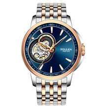 Men automatic mechanical watch hollow steel fashion business waterproof male table Tourbillon 2017 SOLLEN watches Gift of choice(China)