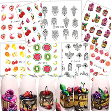 1x Fruit Series Water Decals Colorful Cake/Strawberry/Watermelon/Orange/Banana Summer Decals Nail Art Decorations TRSTZ489-500