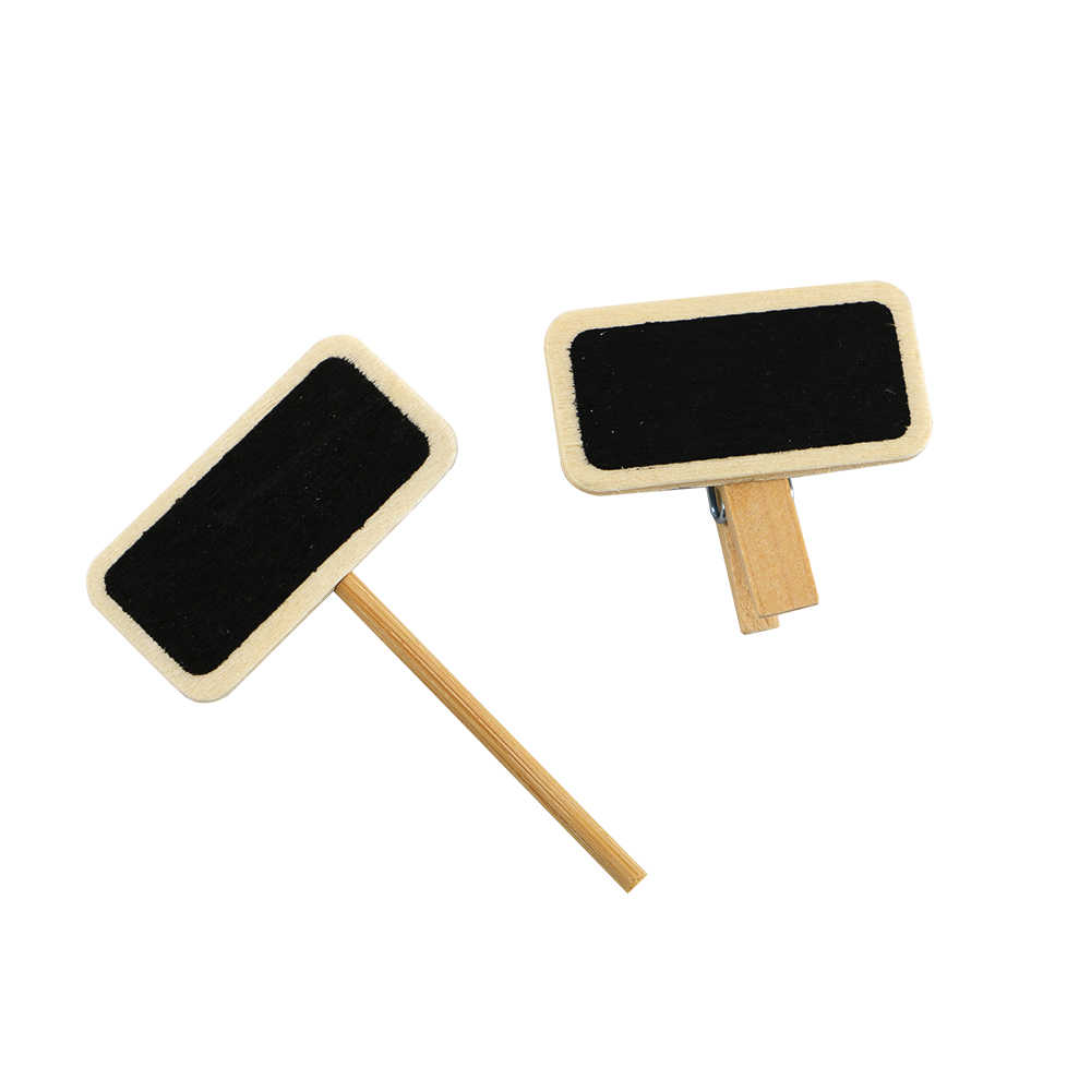 50 Mini Blackboard Wood Message Slate Rectangle Clip Panel Card Memos Label Plan Price Tag Display Snap Pot Flower Name Plate