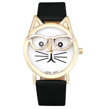 2016 Quartz-watch Cute Glasses Cat Women Watches Girl Fashion Men Watch Wrist Watch Reloj Mujer Relojes Hombre(China)