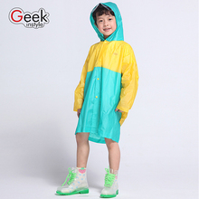 2016 NEW Korean cartoon Joint Color PVC plastic Children Raincoat E-CO Friendly Rain Gear Kids  Poncho