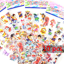 10pcs/lot 3D Patrol Dog Stickers Cartoon Dog Patrulla Canina Dog For Children Gift For Birthday Party Favor toys for childrens