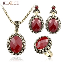 KCALOE Bridal Unique Jewelry Sets India Women'S Necklace Vintage  Rhinestone Earrings Resin Stones Rings  Fashion Jewelry Dubai