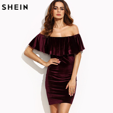 SHEIN Womens Dresses New Arrival Sexy Club Dresses Burgundy Ruffle Off The Shoulder Short Sleeve Velvet Bodycon Mini Dress(China)