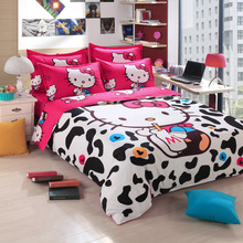 White Milk Hello Kitty Bedding Set for Adulit/Kids Gift 3-4pcs Bed Linen Duvet Cover + Sheet + Pillowcase Twin Full Queen Size(China)