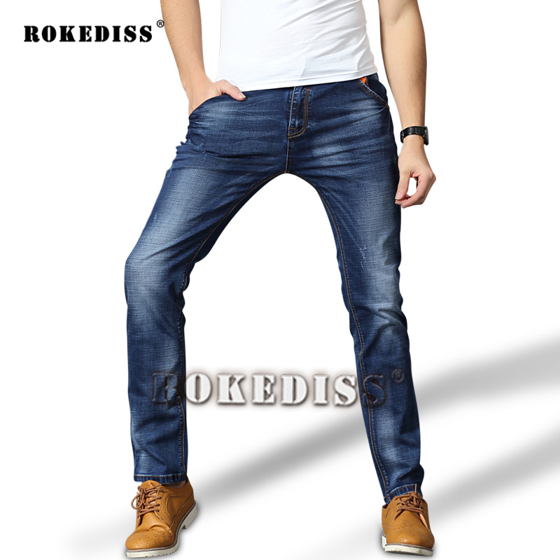 2017 Autumn and summer The New Men Leisure jeans Mens fashion Straight Slim In the waist jeans Elasticity Cotton trousers F23Одежда и ак�е��уары<br><br><br>Aliexpress