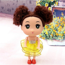 2016 Hot sales 12 cm Cute Korean wedding cute dolls wholesale Children's toy key pendant Doll Color random  2pcs/lot