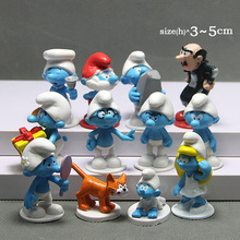 12pcs /lot The Elves Papa Smurfette Clumsy Figures Elves Papa Action Figure Toys Birthday model toys for children gift