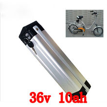 EU US no tax 36V 10AH LiFePO4 Battery with Slim Aluminium Case BMS 2A Charger For Electric Bicycle Bike Battery(China)