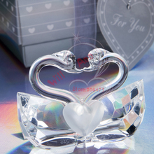 12pcs/lot Romantic Wedding Favors Gift Crystal Kissing Swan Figurines Bridal Shower Favor(China)