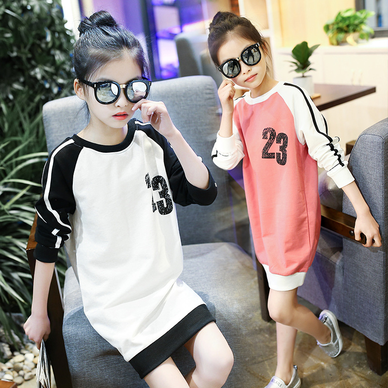 big little girl kids dress autumn spring 2017 girls dresses t shirts children long sleeve letters printed tops children clothing<br><br>Aliexpress