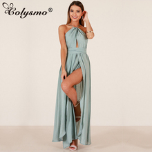 Buy Colysmo Halter Backless Summer Dress Sexy Plus Size Maxi Dress Women Long Dress Elegant Beach Summer Dresses Vestido Longo 2018