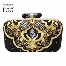Women Hot-Fixed Crystal Diamond Black Satin Evening Clutch Bags Hardcase Embroidery Metal Clutches Banquet Shoulder Handbags