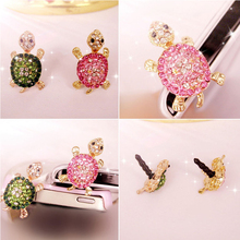 Crystal Lovely Green Turtle Dust Plug 3.5mm Headphone Jack Accessories Cell Charms Ear Jack for Iphone Ipad  Ipod Samsung  MP3/4