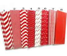 25pcs Red Paper Straws for Baby Shower Wedding Party Kids Birthday Party Decoration Supplies Paper Drinking Straws