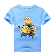 T-shirt for Boys and Girls 2017 O-Neck Cotton Kids Tops print Cute Cartoon picture 8 color choice T shirts size 3-14 T(China)