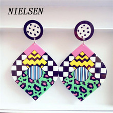 NIELSEN Original Single Magazine Popular Foreign Trade Acrylic Earring Long Paragraph Large Ear Cuff Camoufla Accessories