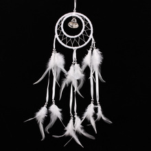 White DreamCatcher Indian 2 Rings Feather Handmaded Dream Catcher Bell Car Hanging Crafts House Decor