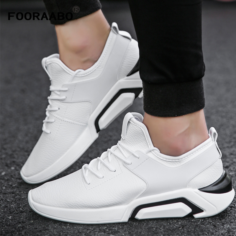Men's Leather Casual Shoes Classic Fashion Male Lace Flats Black White Men Krasovki Flat Heel Sneakers tenis masculino