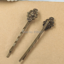 12x17mm Blank Bobby Pins Bases Settings Filigree Flower pads Hair Clip Hairpins Crafts Findings Silver/ bronze tone