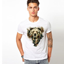 free shipping west bear t-shirt Men's top tees hip hop Casual o-neck Short sleeve forest t shirt plus size S-3XL