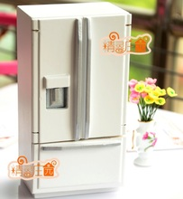 MINI Dollhouse Furniture model accessories silver and white double door refrigerator(China)