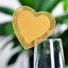 120PCS Gold Laser Cut Paper Place Card Table Card Holder wedding Invitation heart for Party Wedding Favors and gifts Decoration(China)