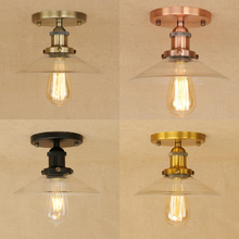 New American Country Industrial Retro Ceiling Lamp,7 styles clear glass lampshade led ceiling light fixture for restaurant deco