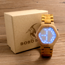 BOBO BIRD E03 LED Digital Wooden Case Watch Night Vision LED Watch Cool LED Display Clock for Men with Unique LED Date Day