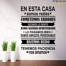 Good quality spanish house rules sticker room decor new Art Design Vinyl quote Wall decals removable home Regulations paster