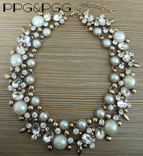 PPG&PGG2017 New Luxury Women Imitation Pearl Jewelry Crystal Statement Necklace Choker Collar Lady Fashion Accessories