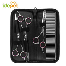 Dog Hair Scissors Grooming Set Pet Scissors For Dog Grooming Shears Kits Curved Cat Dog Pet Product Hair Thinning Shears S251(China)