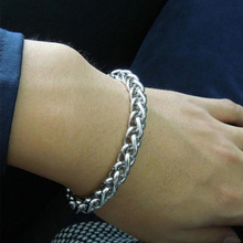 Men Stainless steel Wristband Silvery Basket Link Chain Bracelets Fashion Jewelry(China)
