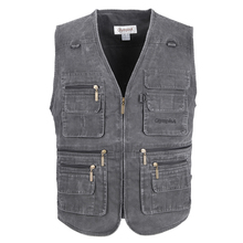 High Quality Men's Vests 100% Cotton Sleeveless Jacket Man Plus Large Size 10XL Waistcoat Men Vest with many pockets 5 Colors(China)