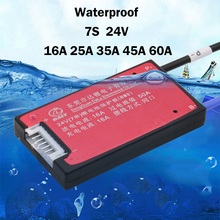 Waterproof 7S 16A 25A 35A 45A 60A 24V Lithium Battery Protection Board BMS Electric Charge Li Lipo NiCoMn ion Cells with balance(China)