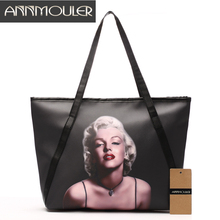 Annmouler Brand Women Shoulder Bag Large Designer Handbags Black Pu Leather Marilyn Monroe Print Lady Bags Fashion Discount Tote(China)