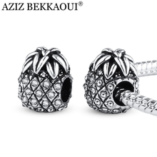 AZIZ BEKKAOUI Full Clear Crystal Ananas Beads Fit Pandora Bracelet Silver Plated Unique Cute Fruit Shape Charms fit Diy Bracelet