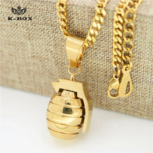 "Mens Stainless Steel Gold Solid Bullet Pendant w/3mm 24""Cuban Chain Fashion Hiphop Pistol Gun Bomb Grenades Necklace"