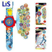 Lis 24 images Pikachu Projection cartoon Electronic watch Children LED Digital Projection Wristwatches For kids Baby gift toys