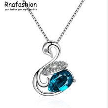 RNAFASHION Elegant 925 Sterling Silver Crystal Swan Necklaces Shaped Paved Zircon Necklace Jewelry for Women Fashion