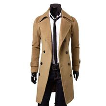 Men's Wool Coat Slim Fit Men Middle Long Coats And Jackets Solid Color Male Manteau Homme Overcoat Winter Woolen Coat Men(China)